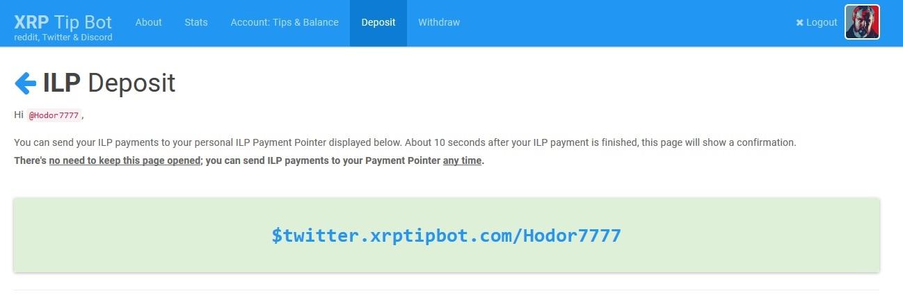 XRP Tip Bot ILP Payment Address