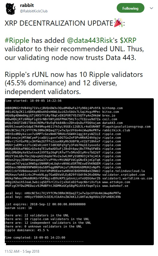 XRP Decentralization Tweet from Rabbit