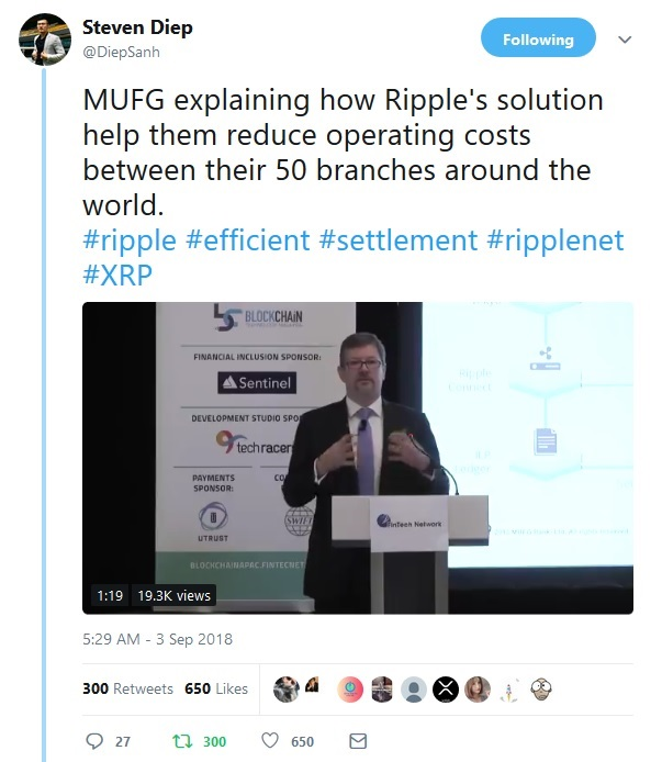 MUFG Tweet by Steven Diep
