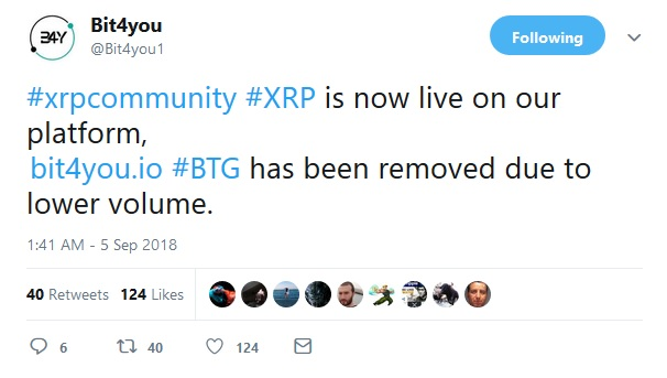 Bit4You Tweet about XRP Support