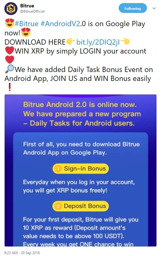 Bitrue Mobile Application Announcement Tweet