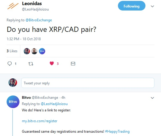 Bitvo Tweet from Leonidas