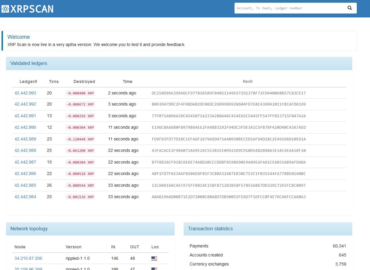screenshot of XRP Scan