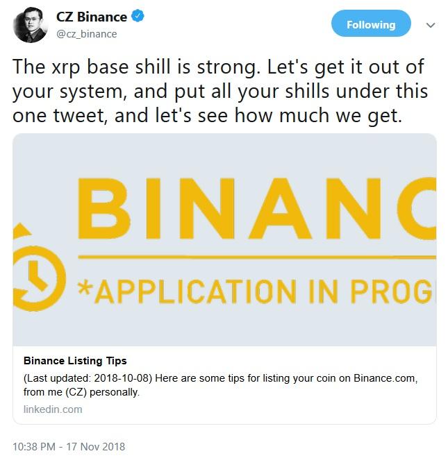Binance Tweet