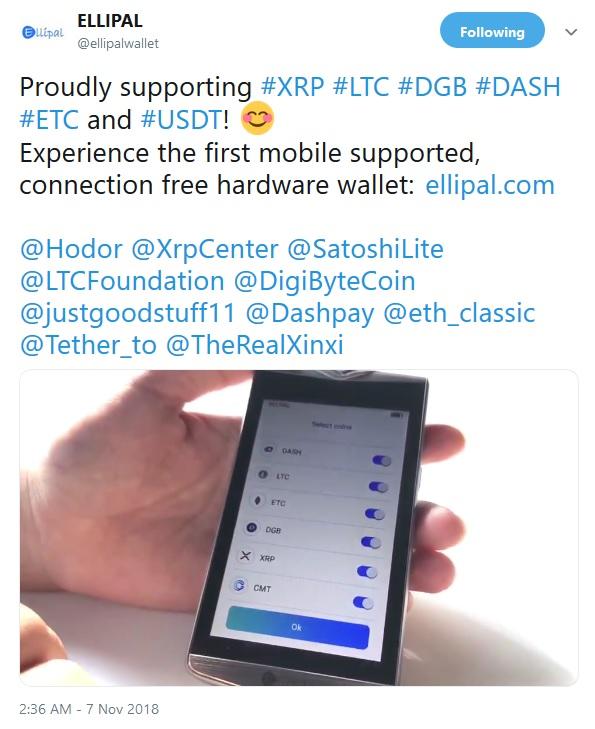 Ellipal Wallet Tweet