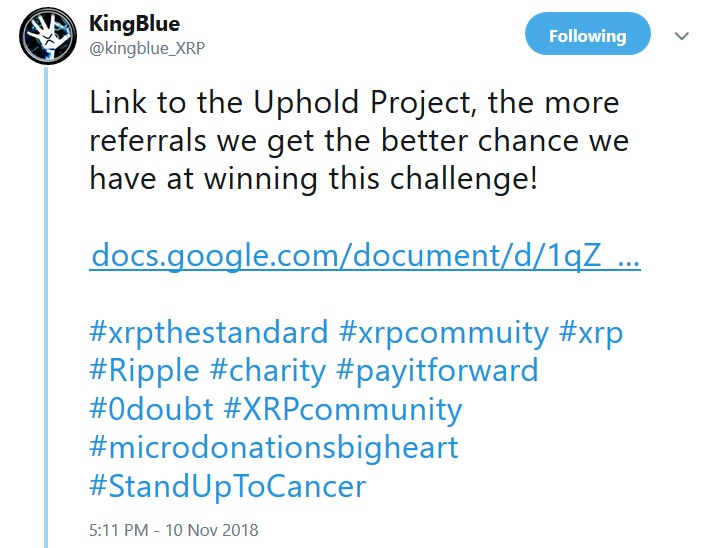 KingBlues Tweet about Uphold Project