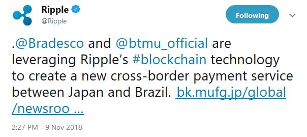 Ripple Tweet about MUFG