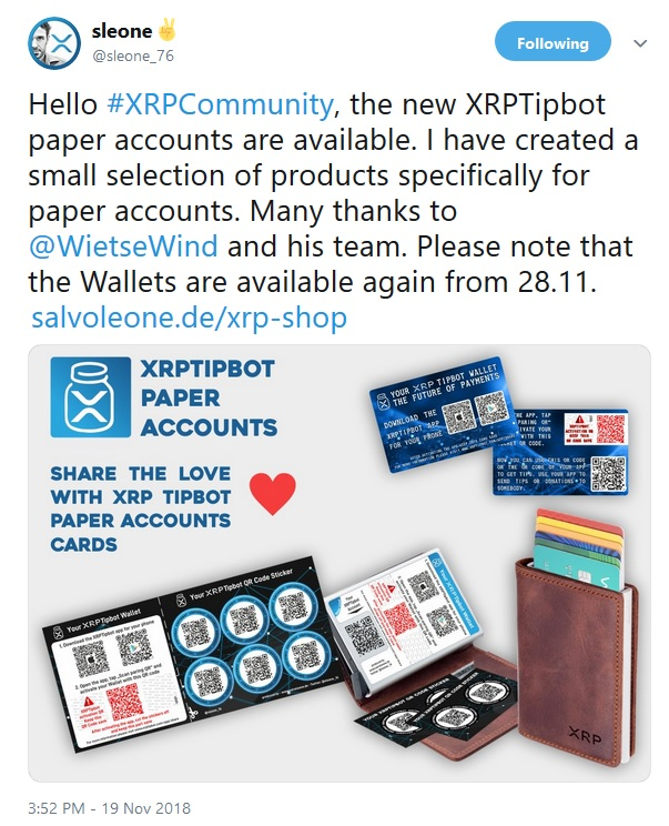 Tweet from Sleone about XRP Paper Tip Bot