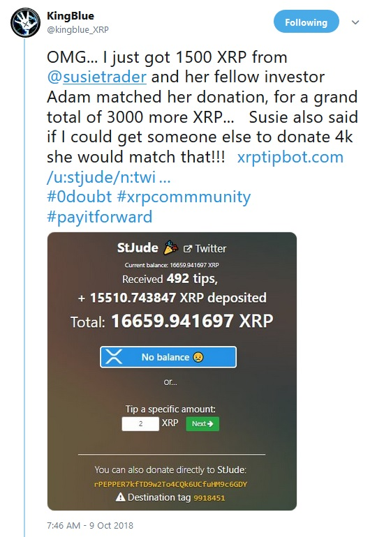 St Jude Donation tweet by Kingblue