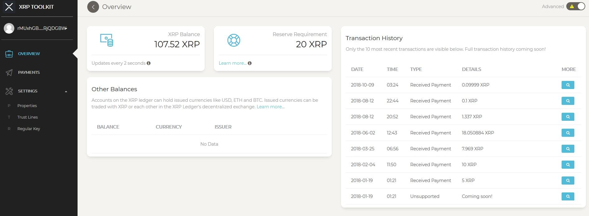XRP Toolkit Screen Shot