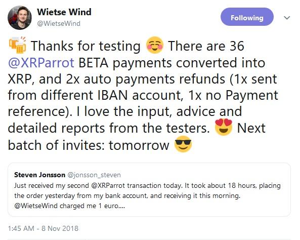 WietseWinds Tweet about XRParrot