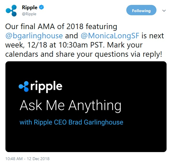 Ripple AMA Announcement
