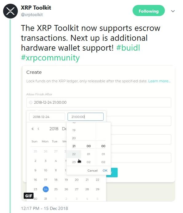 XRP Toolkit Tweet