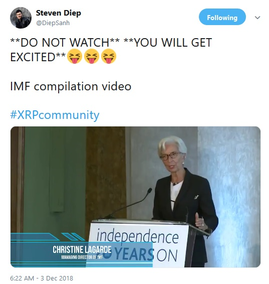 Tweet containing IMF clips