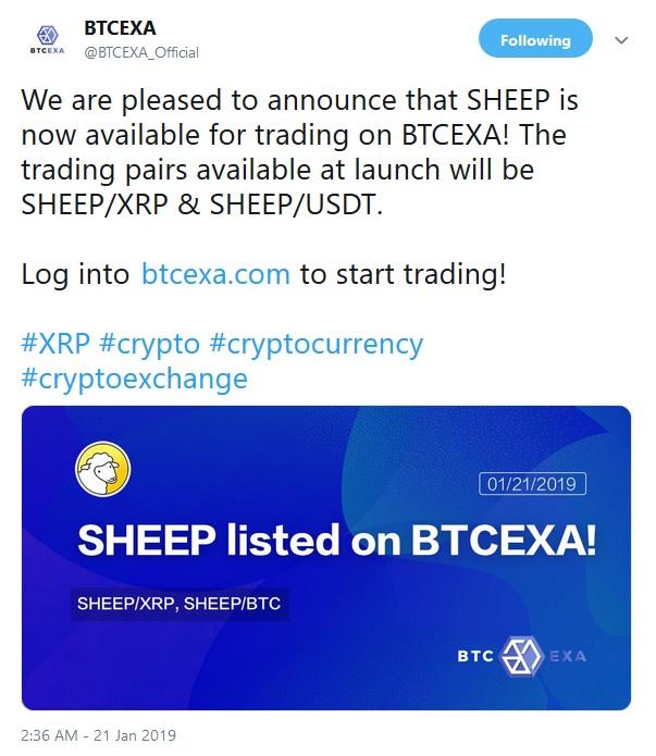 BTCEXA Tweet