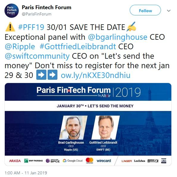 Paris Fintech Forum Tweet