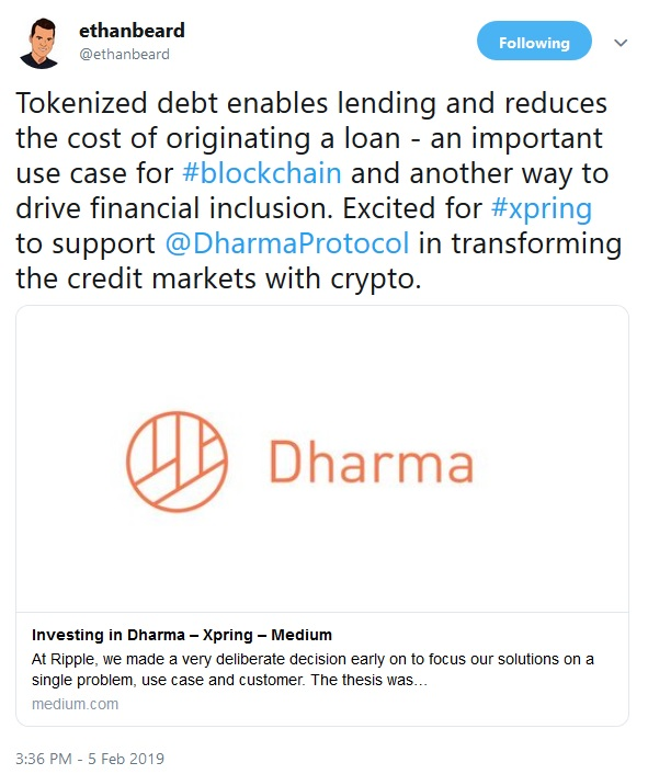 Tweet from Ethan Beard about the Dharma investment