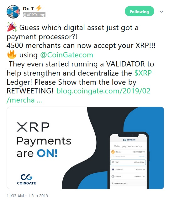 Coingate Tweet from XRP Trump