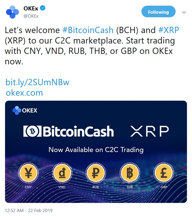 OKEx Tweet