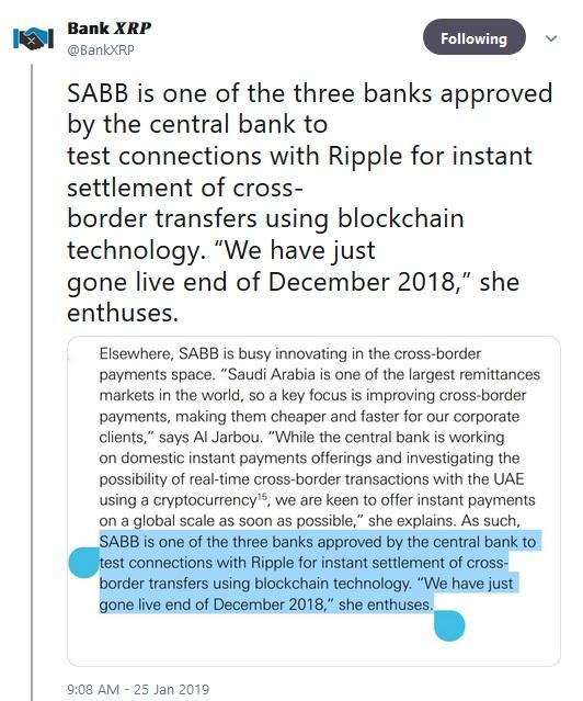 BankXRPs Tweet about Saudi British Bank