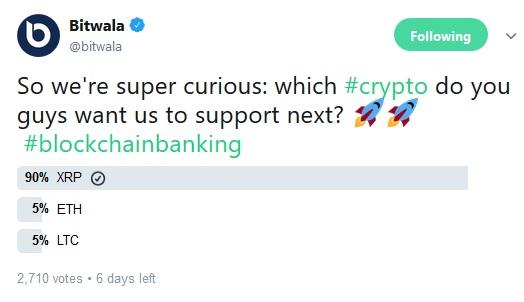 Bitwala Tweet