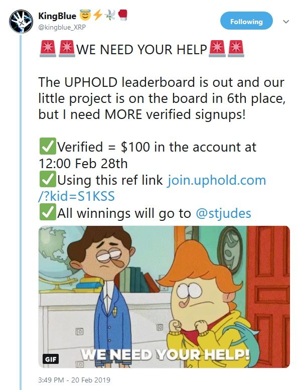 King Blues tweet about st jude fundraising