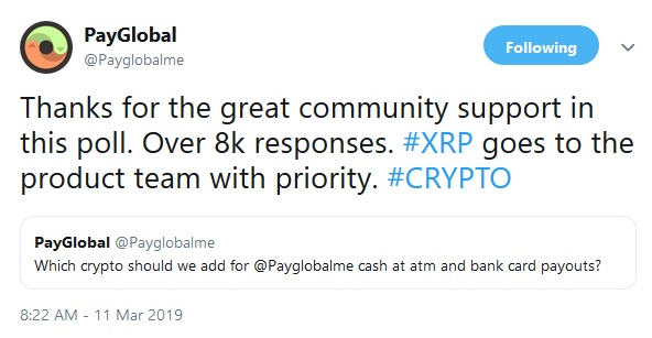 PayGlobals tweeted response to poll results