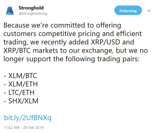 Tweet from Stronghold about new XRP pairings
