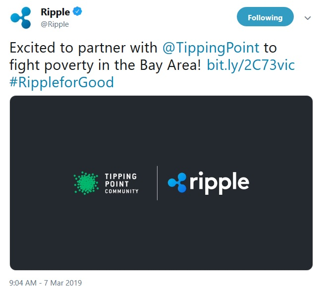 Ripple Tweet about donation to Tipping Point