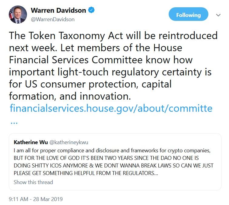 Warren Davidsons Tweet about the Token Taxonomy Act