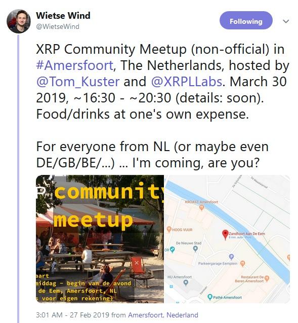 XRP Meetup Tweet from Wietse