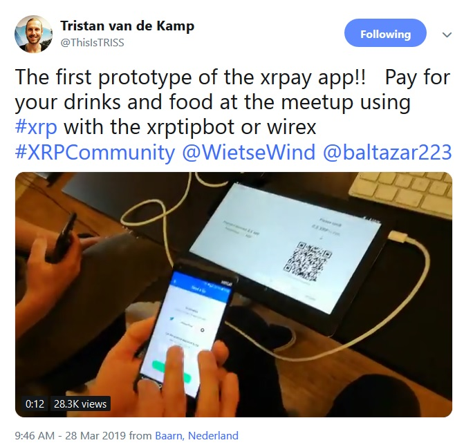 XRPay Application Tweet from Tristan