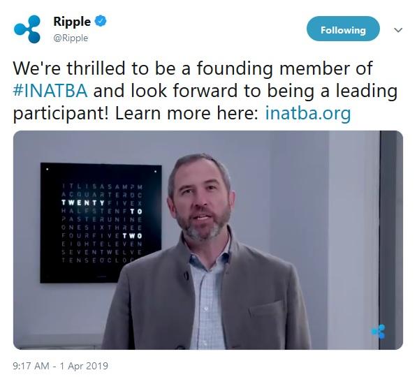 Ripple Tweet about INATBA