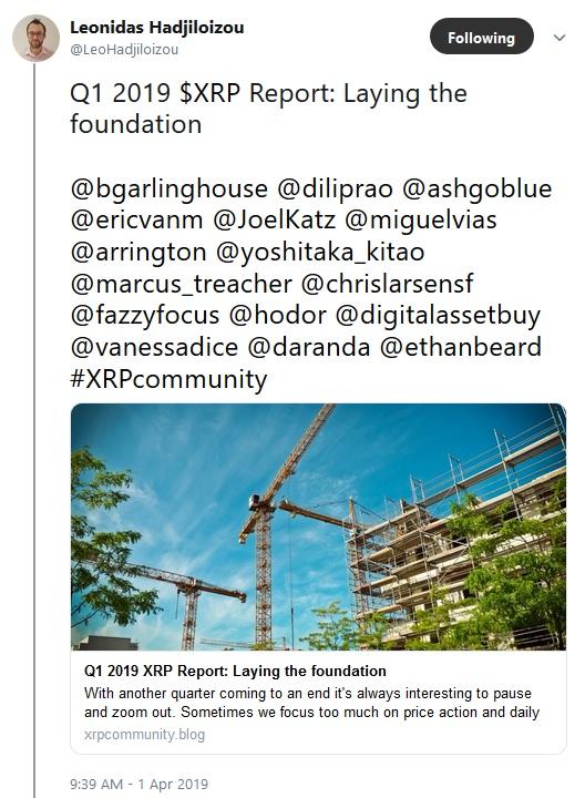 Leonidas tweet about Q1 Report Blog