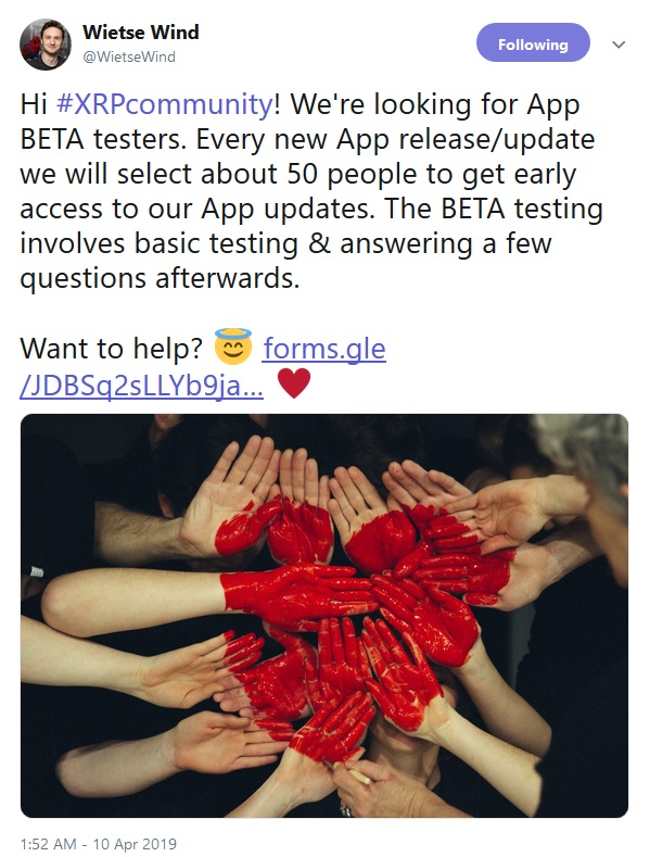 XRPL Labs Beta Testers Needed Tweet