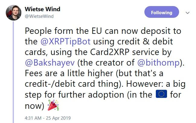 XRP Tip Bot Wietse and Warbler