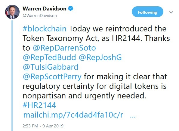 Warren Davidsons tweet