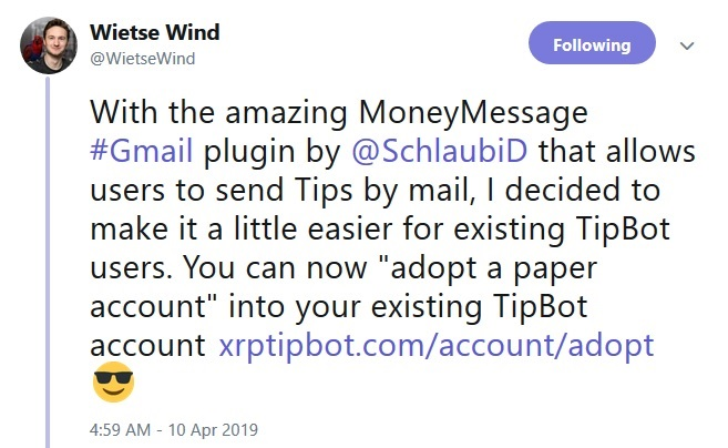 XRP Tip Bot Adopt an Account Tweet from Wietse