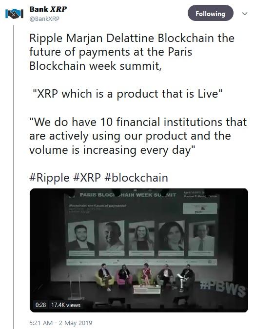 Tweet about Marjan Delatinne from BankXRP