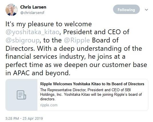 Chris Larsens Tweet