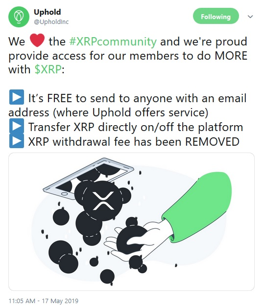 Uphold Tweet about no withdrawal fee