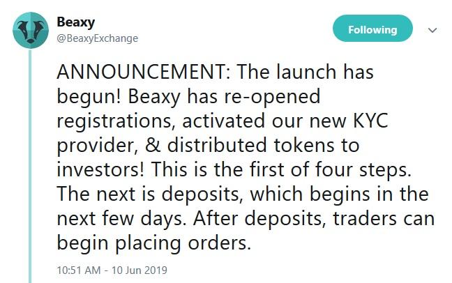 Beaxy Exchange Tweet
