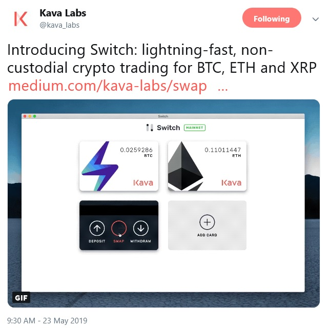 Kava Labs Tweet announcing Switch