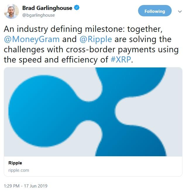 MoneyGram Tweet from Brad Garlinghouse