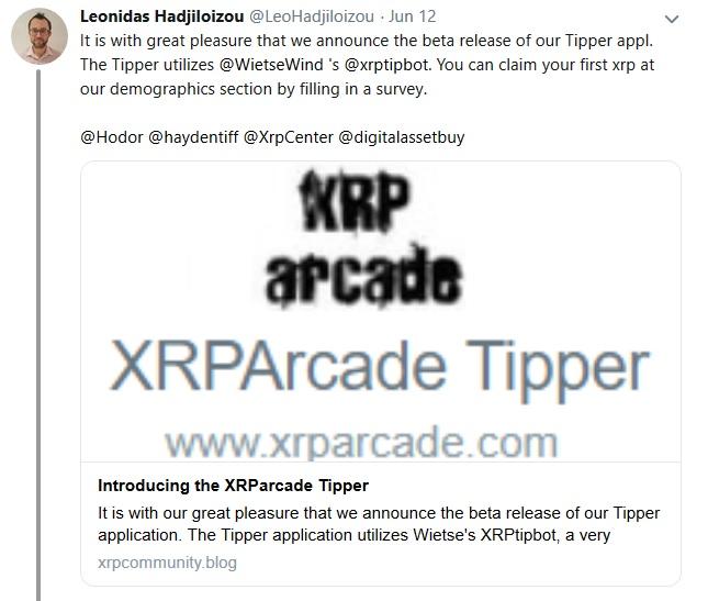 Tweet from Leonidas about XRP Arcade