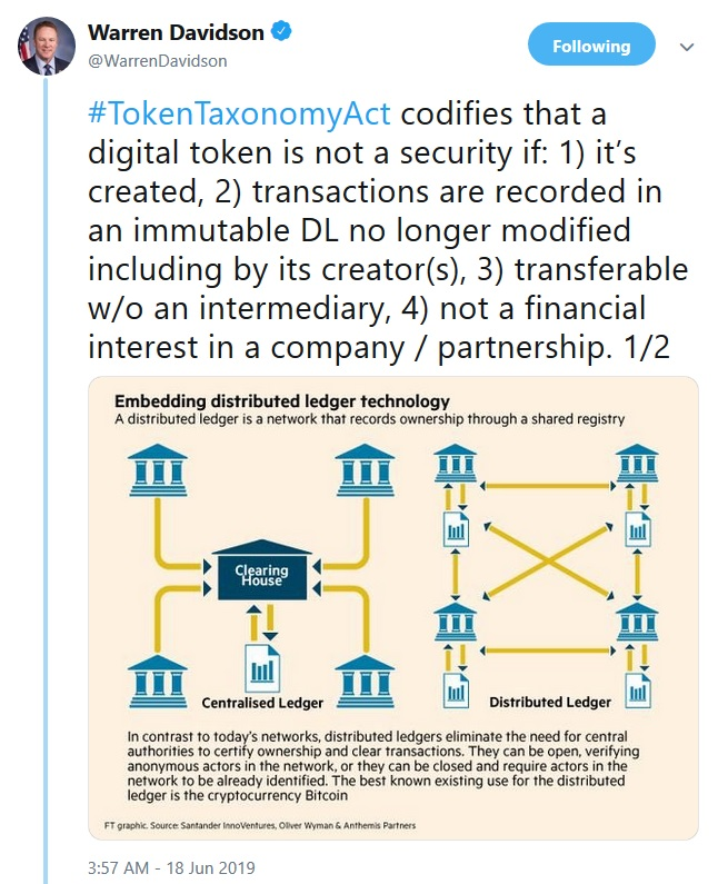Token Taxonomy Act tweet from Warren Davidson