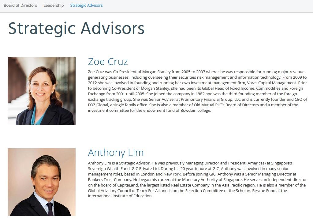strategic advisors section on Ripple website