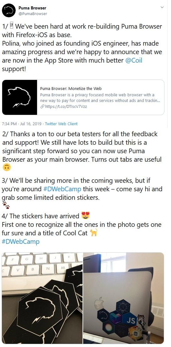 Tweet From Puma Browser Team