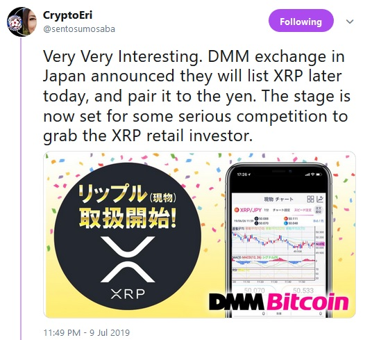 DMM Tweet from Crypto Eri
