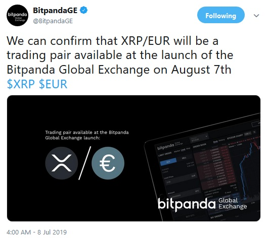 Tweet from BitpandaGE about their new exchange